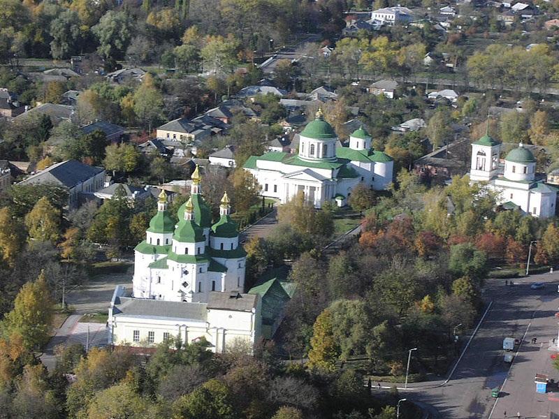 Панорама центру міста. Миколаївський собор та комплекс грецьких храмів
